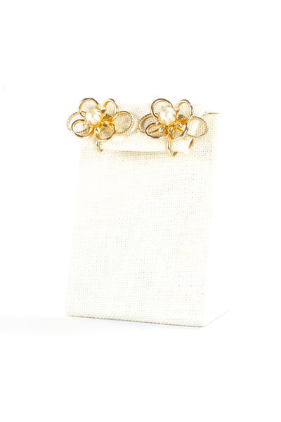 60's__Vintage__Gold Flower & Pearl Earrings