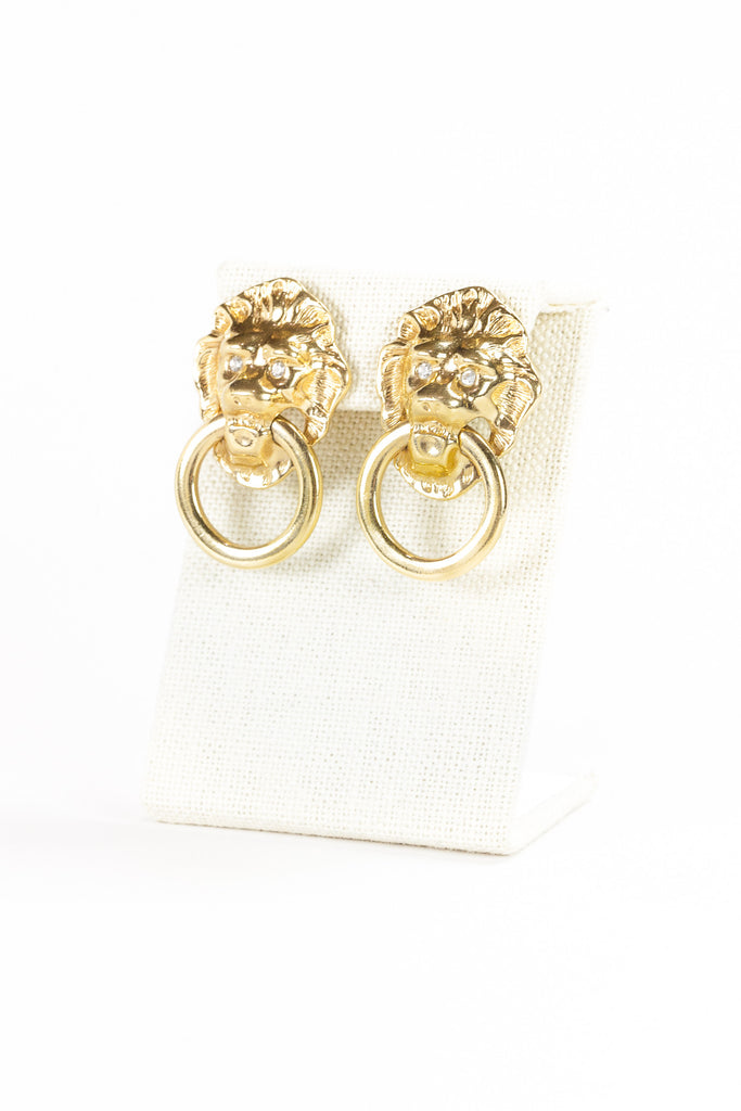 80's__KJL__Lion Knocker Earrings