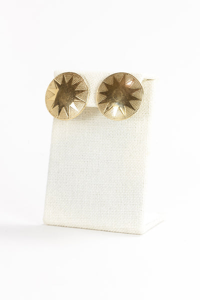 70's__Vintage__Gold Burst Disc Earrings