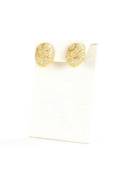 60's__D'Orlan__Rhinestone Oval Earrings