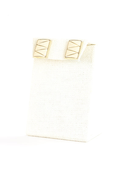 80's__Vintage__Cream Enamel Rectangle Earrings