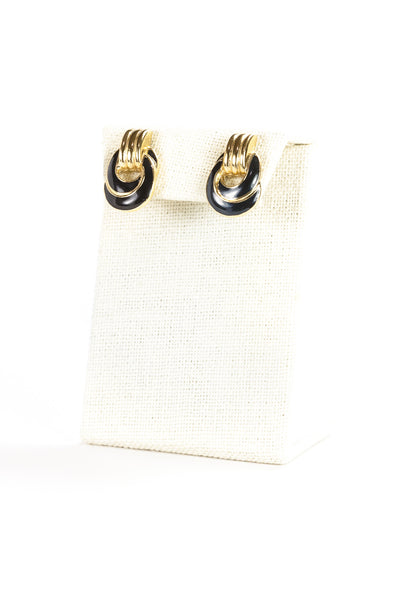 70's__Trifari__Black & Gold Knot Earrings
