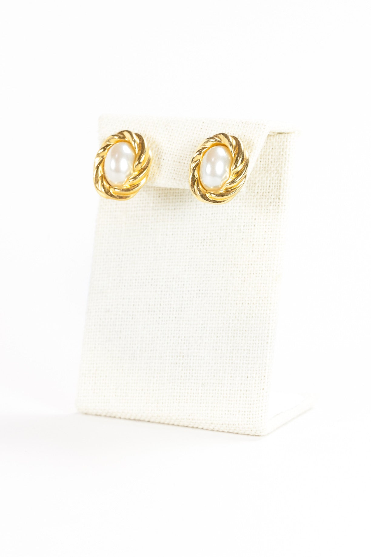 80's__KJL for Avon__Gold Pearl Earrings