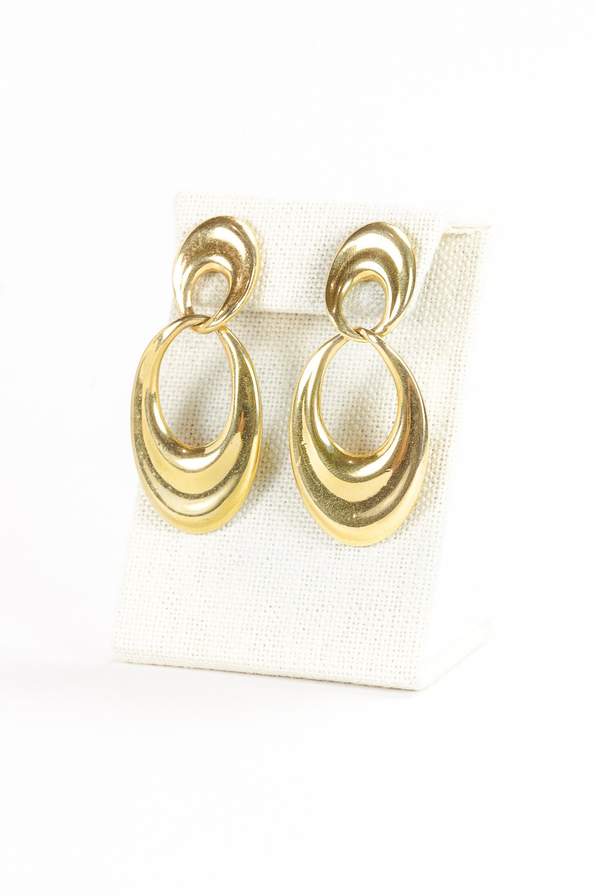 70's__Monet__Gold Link Drop Earrings