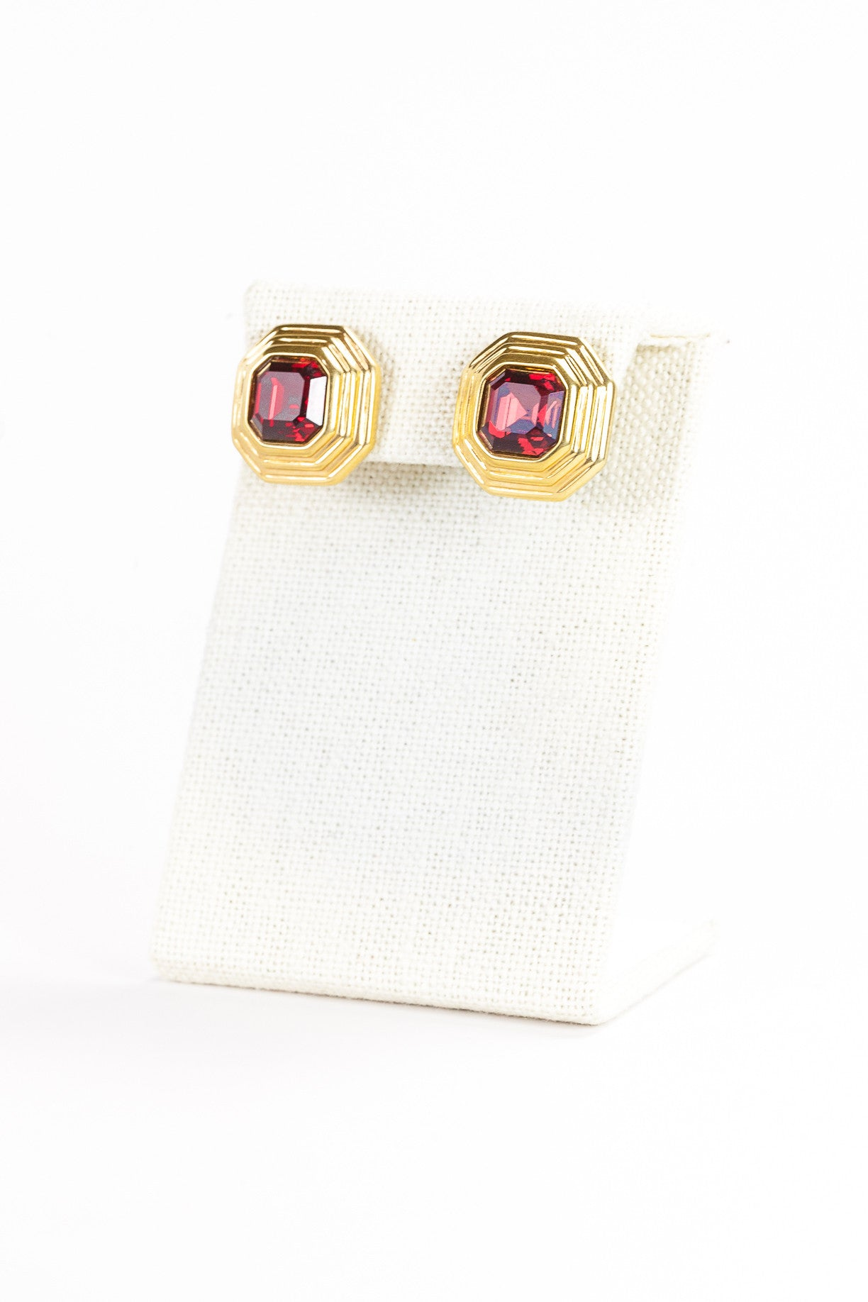 90's__Swarovski__Red Jeweled Rhinestone Earrings