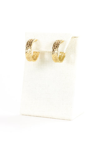 70's__Pierre Cardin__Weave Textured Hoop Earrings