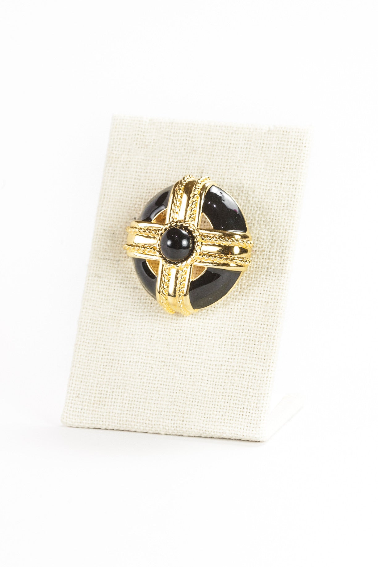 80's__Monet__Black Enamel Shield Brooch