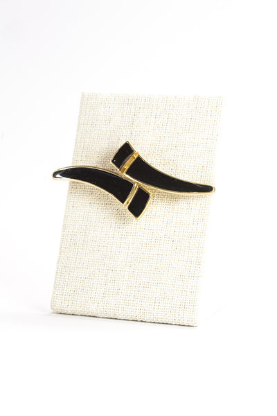 80's__Trifari__Abstract Black Enamel Brooch