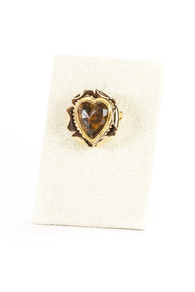60's__Vintage__Amber Jeweled Heart Brooch