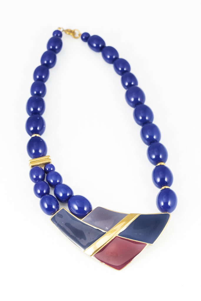 80's__Trifari__Blue Beaded Bar Statement Necklace