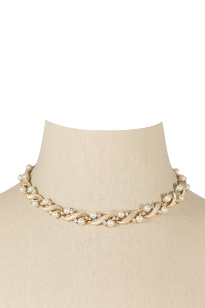 50's__Trifari__Pearl Floral Necklace