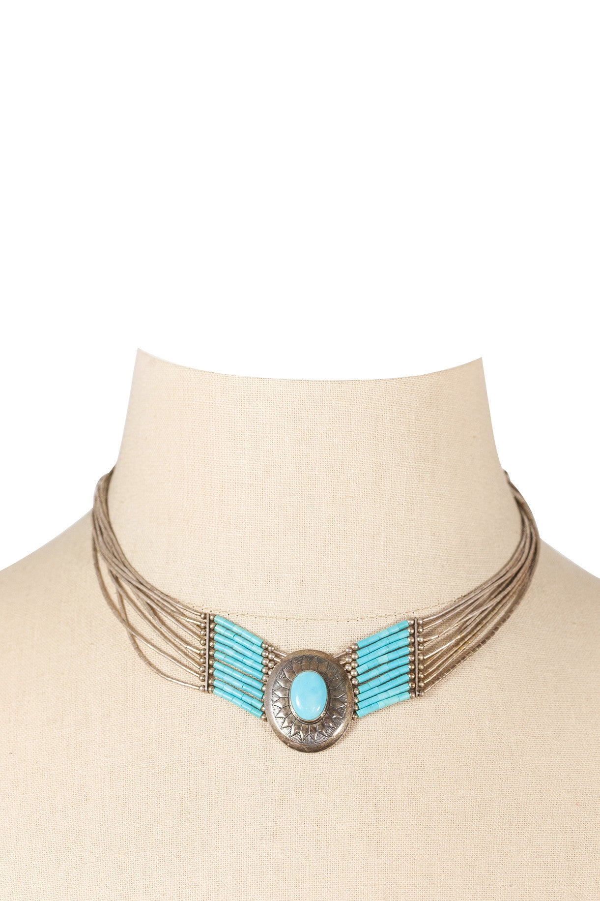 60's__Vintage__Turquoise Choker Necklace