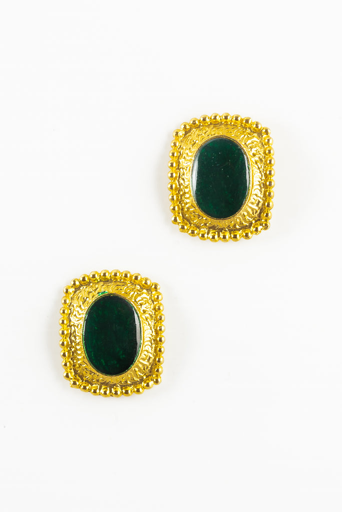 70's__Vintage__Green Enamal Oval Earrings