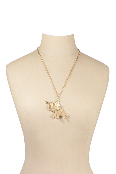 60's__Vintage__Elephant Pendant Necklace