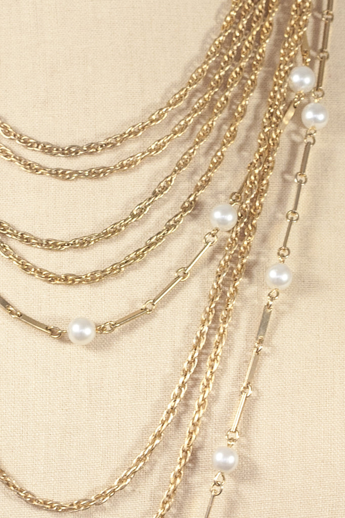 70's__Vintage__Multi Chain Pearl Necklace