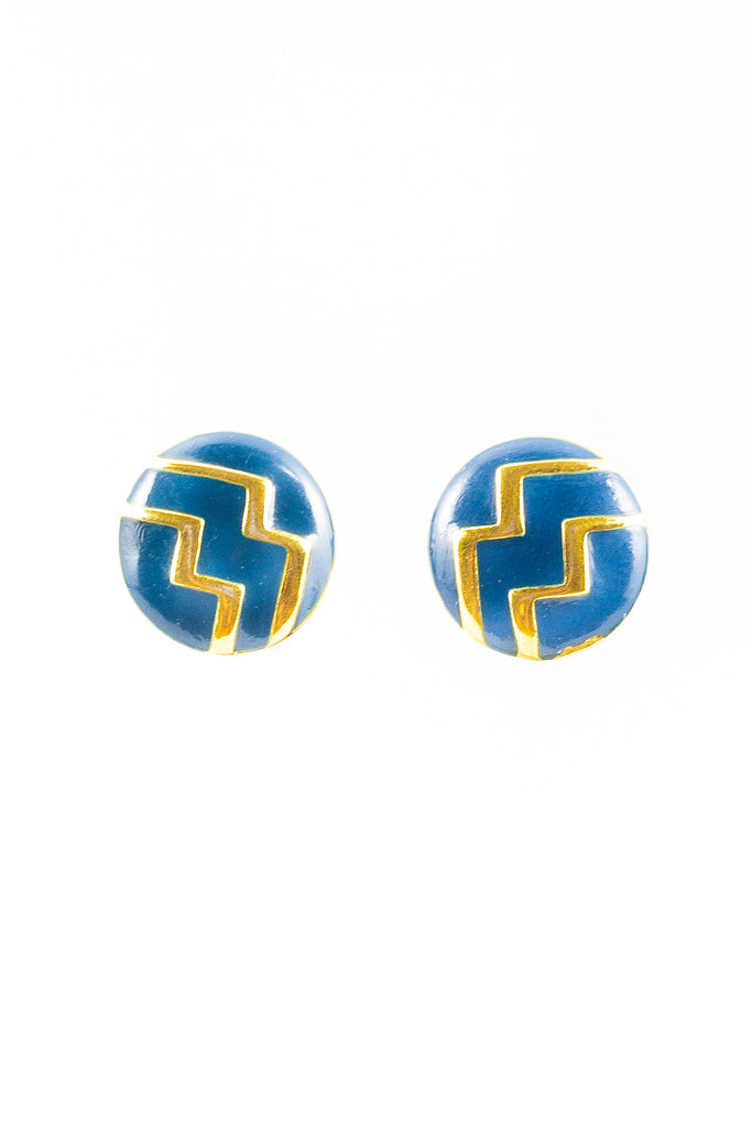 70's__Monet__Blue Chevron Clip-on Earrings