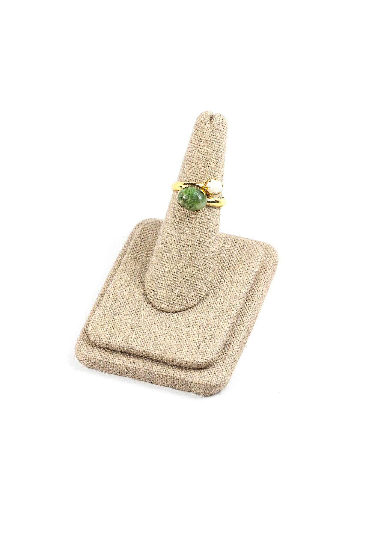 70's__Sarah Coventry__Twisted Jade Pearl Ring