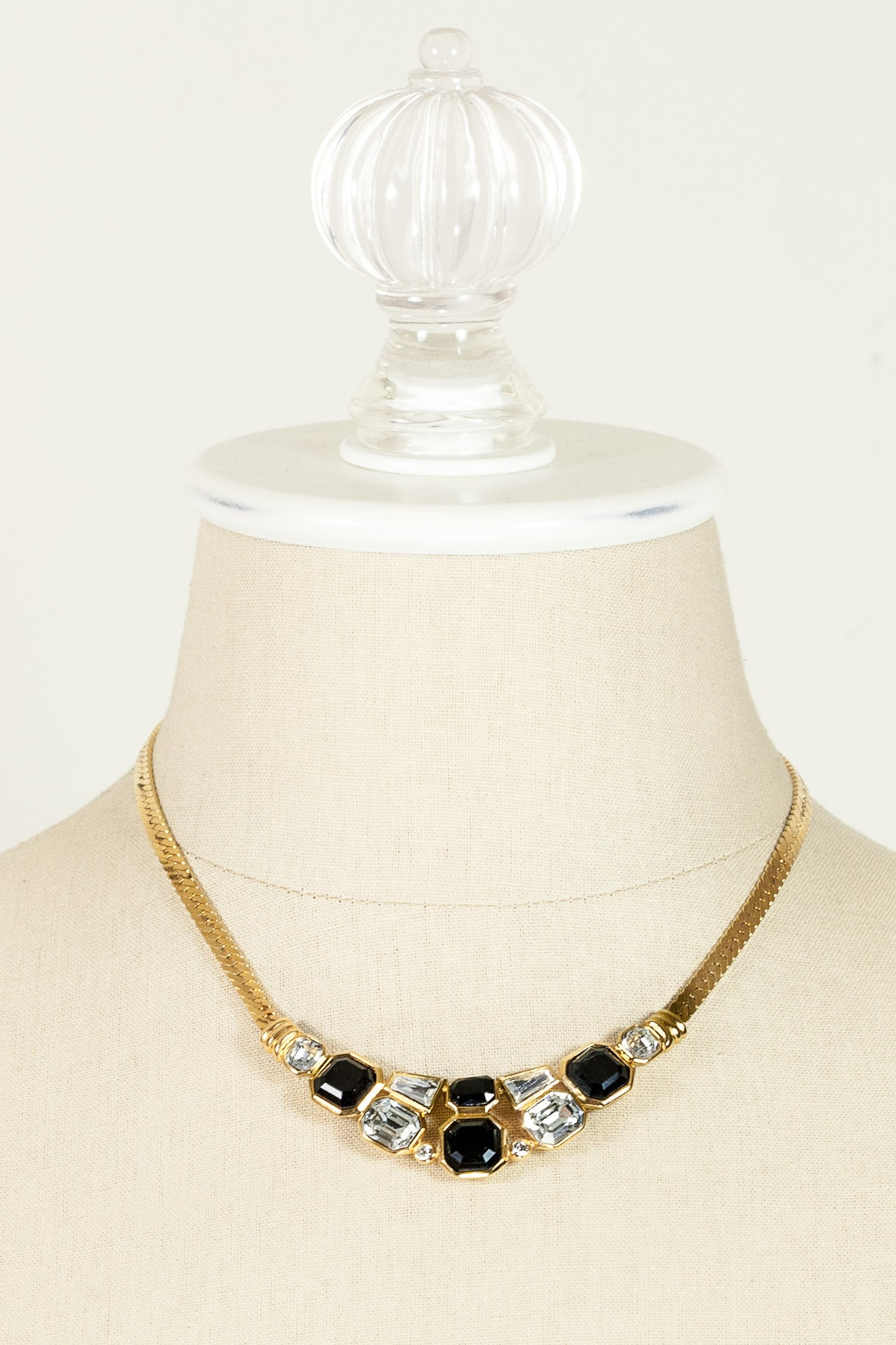 60's__Trifari__Geo Rhinestone Necklace