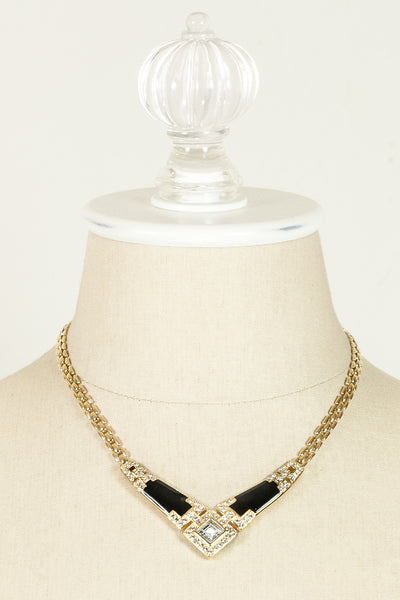 70's__Trifari__Black & Rhinestone V Necklace