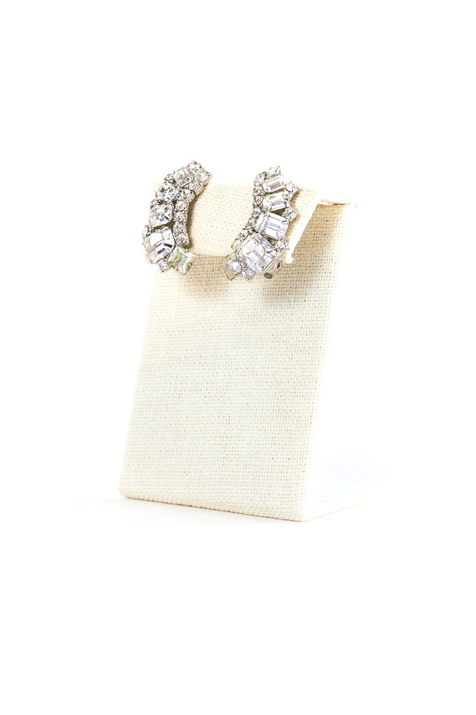 Vintage Simple Rhinestone Cuff Earrings