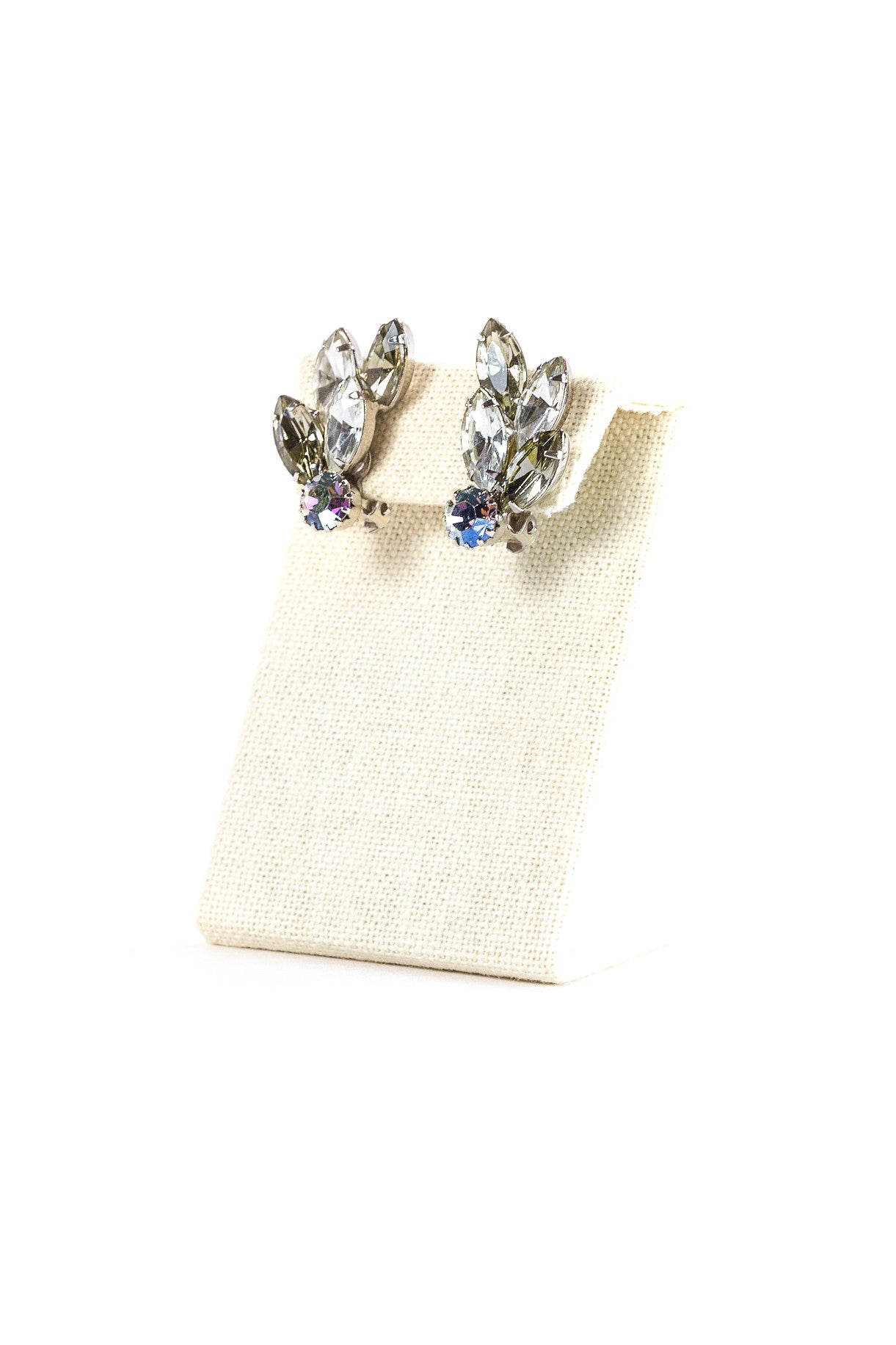 60's__Vintage__Irredescent Rhinestone Clips