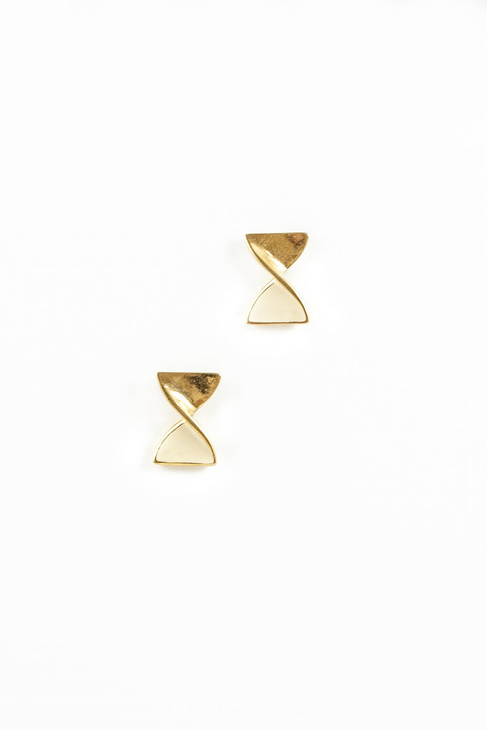 70's__Vintage__Gold Ribbon Twist Earrings
