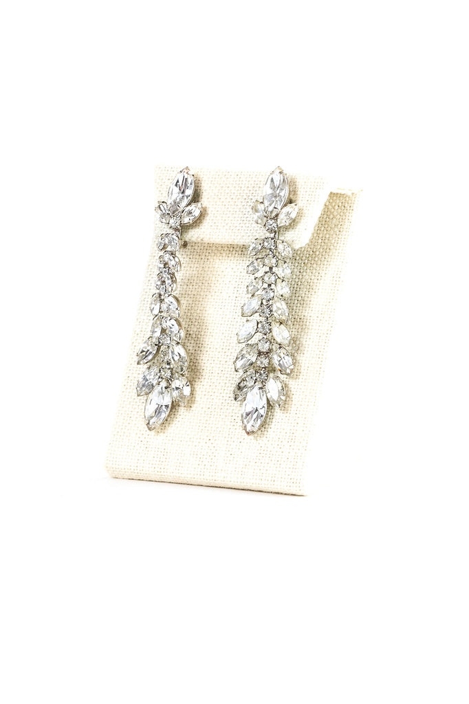 60's__Weiss__Drop Leaf Rhinestone Clips