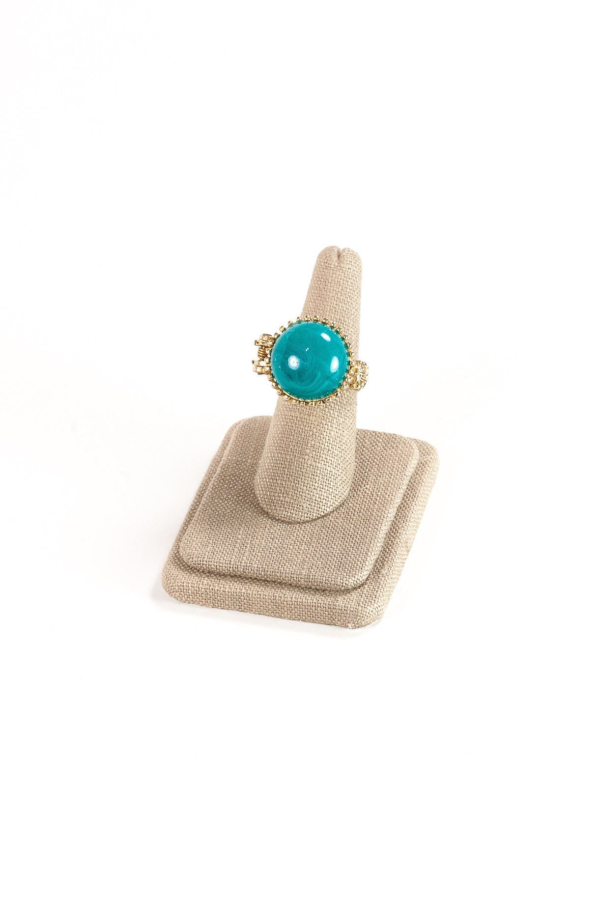 60's__Vintage__Teal Stone Cocktail Ring