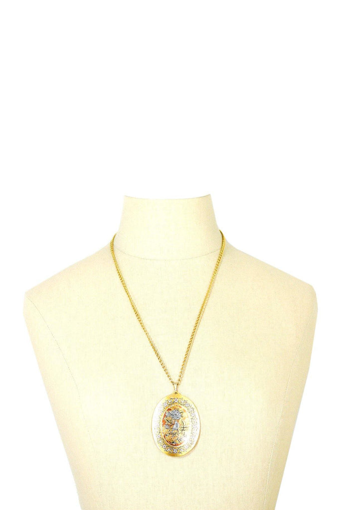 60's__Reed & Barton__Damascene Pendant Necklace