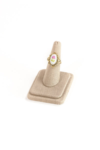 60's__Vintage__Floral Detailed Cocktail Ring