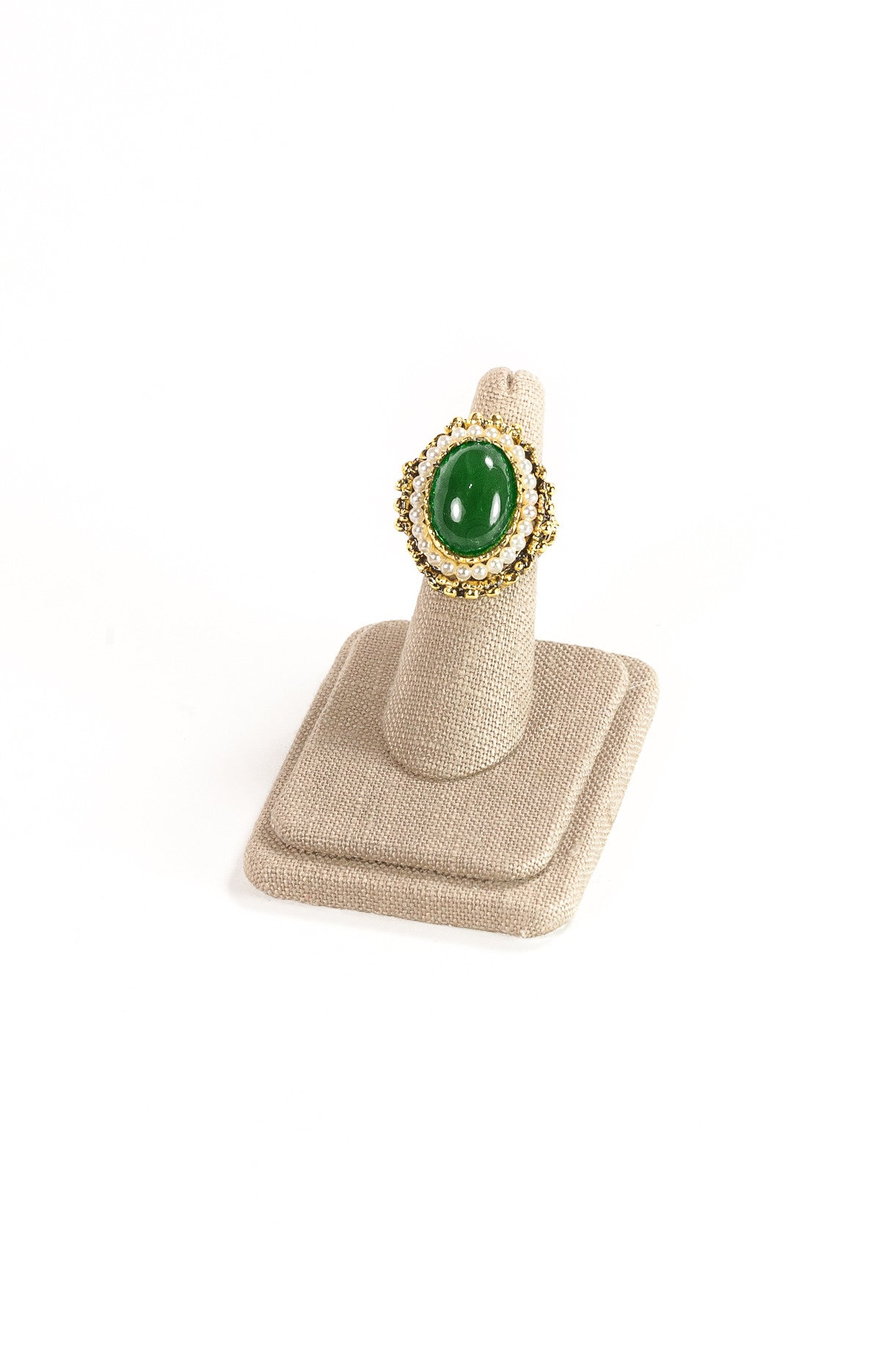 60's__Vintage__Statement Green Stone Ring