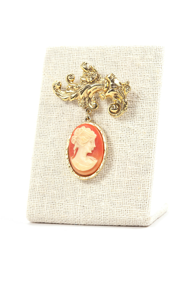 50's__Vintage__Cameo Bar Drop Brooch