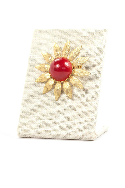 50's__Vintage__Red Burst Brooch