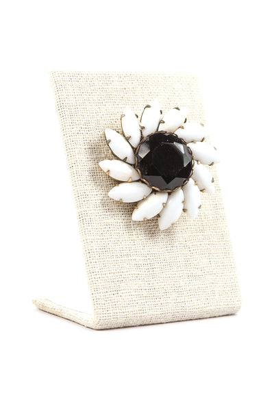 50's__Vintage__Black and White Rhinestone Brooch