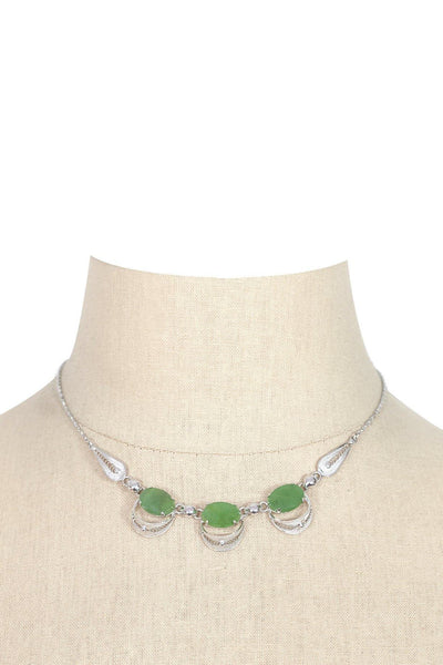 50's__Vintage__Sterling Jade Necklace
