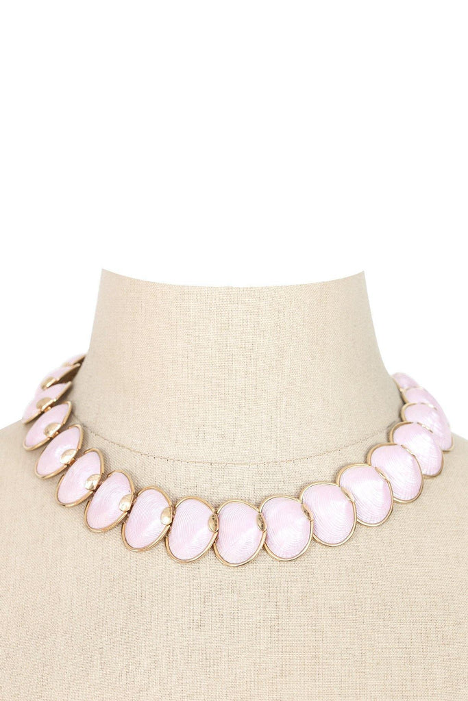50's__Coro__Pink Shell Statement Necklace