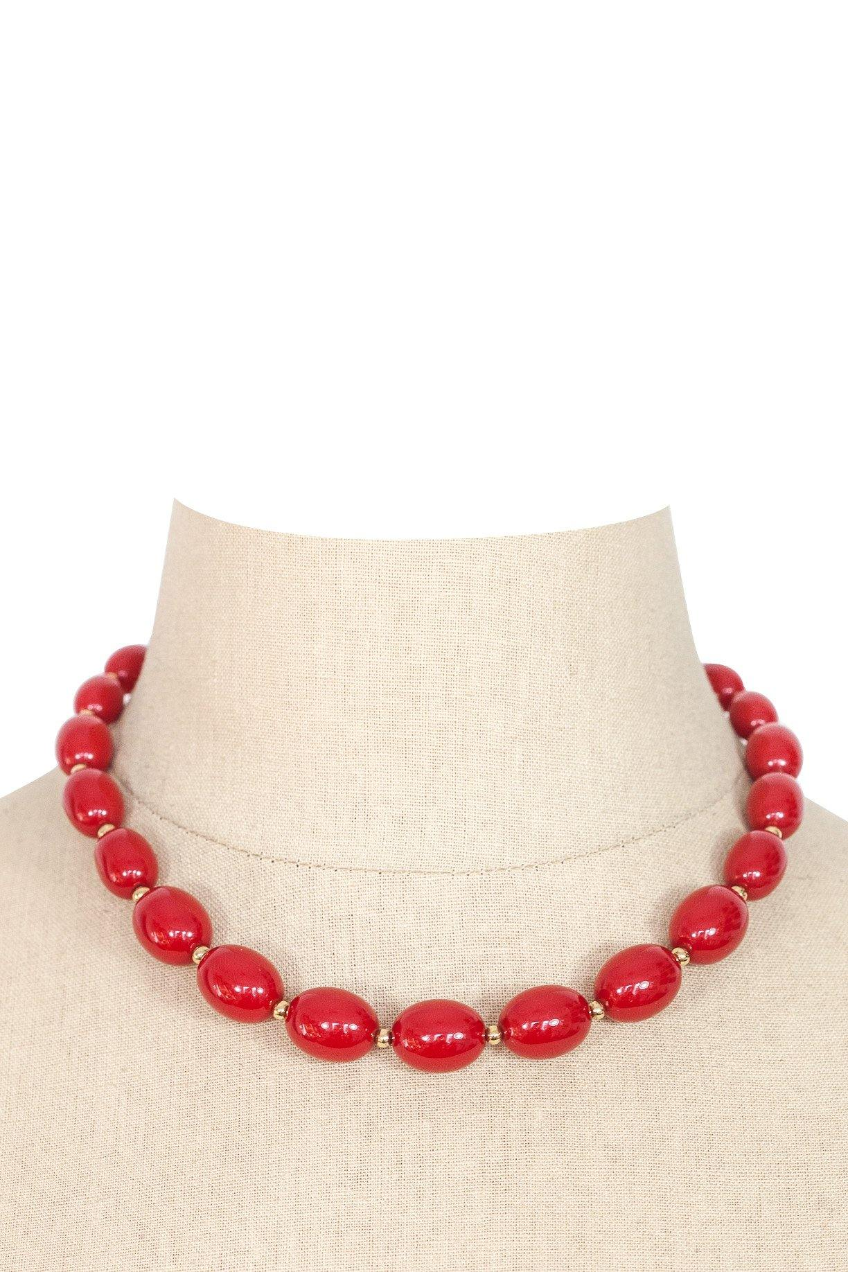80's__Monet__Red Beaded Necklace