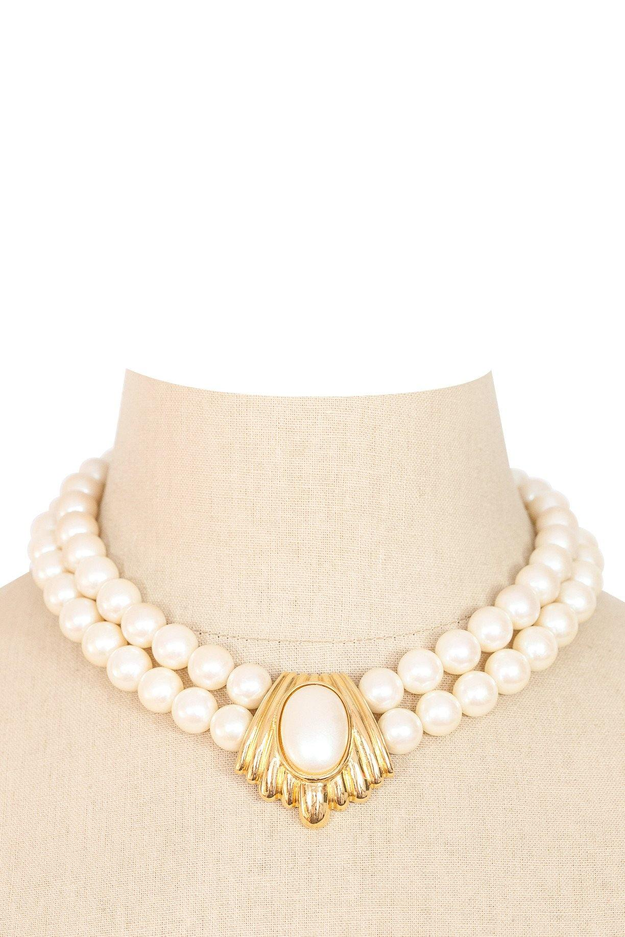 80's__Richelieu__Pearl Statement Necklace