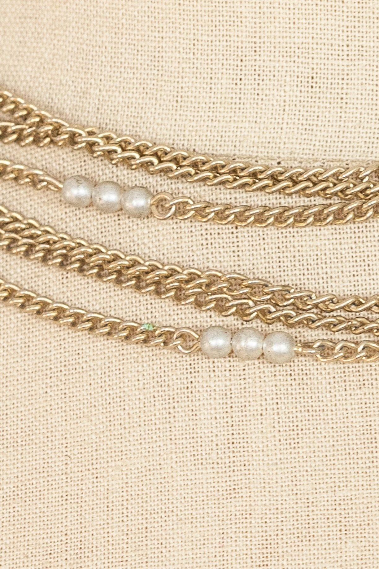 50's__Vintage__Pearl Multi Chain Necklace