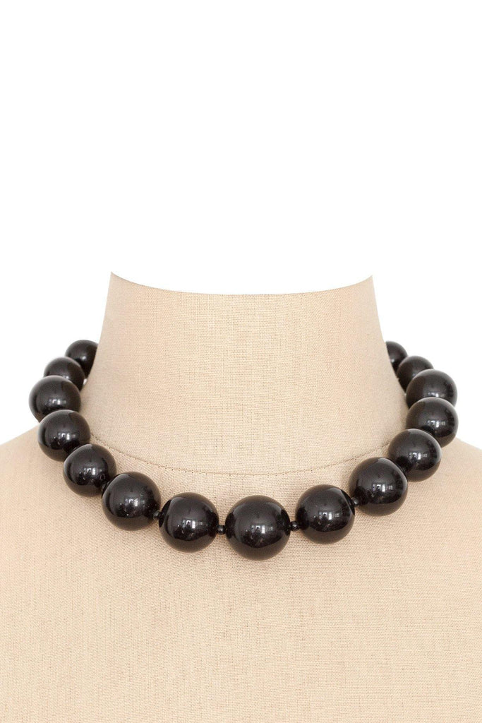 60's__Vintage__Black Bauble Necklace