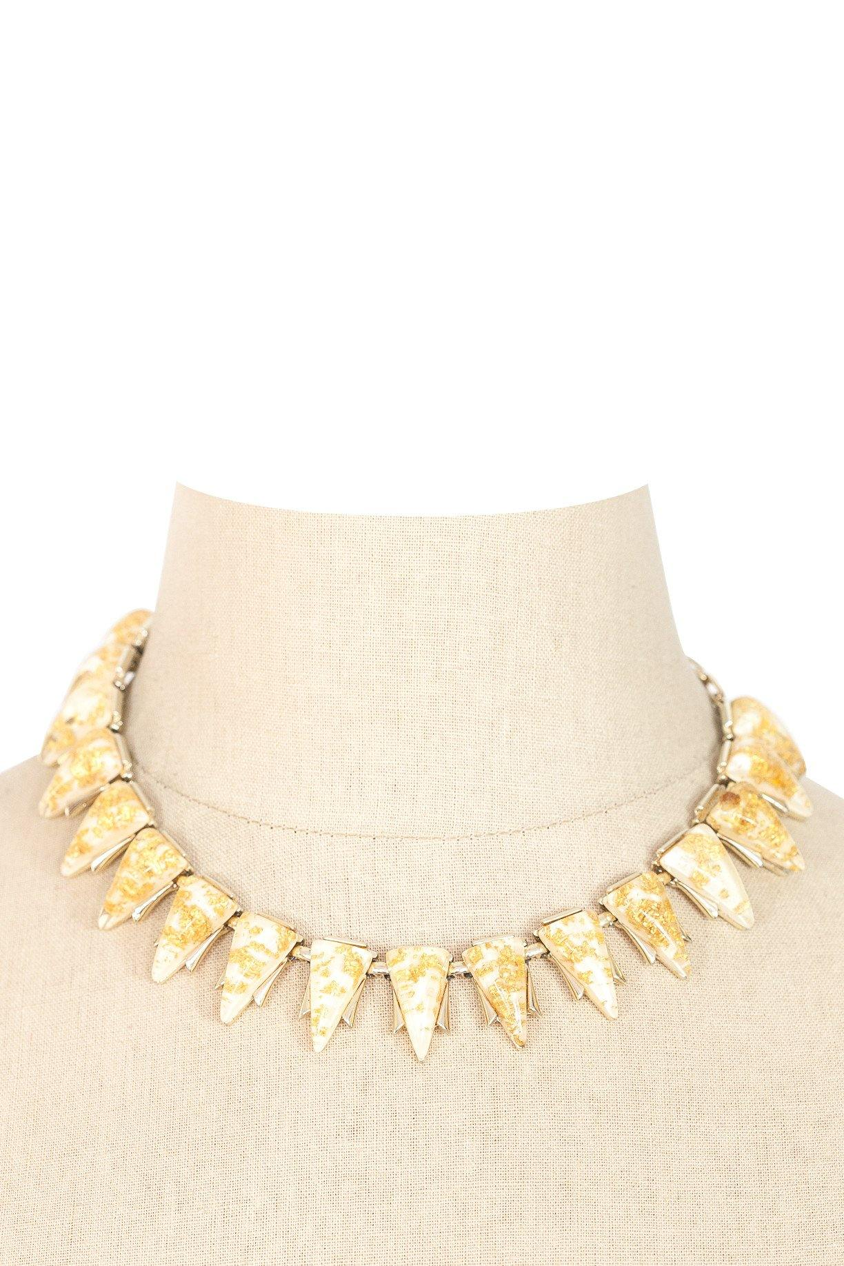 60's__Coro__Lucite Gold Foil Necklace
