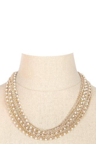 50's__Capri__Pearl Multi Chain Necklace
