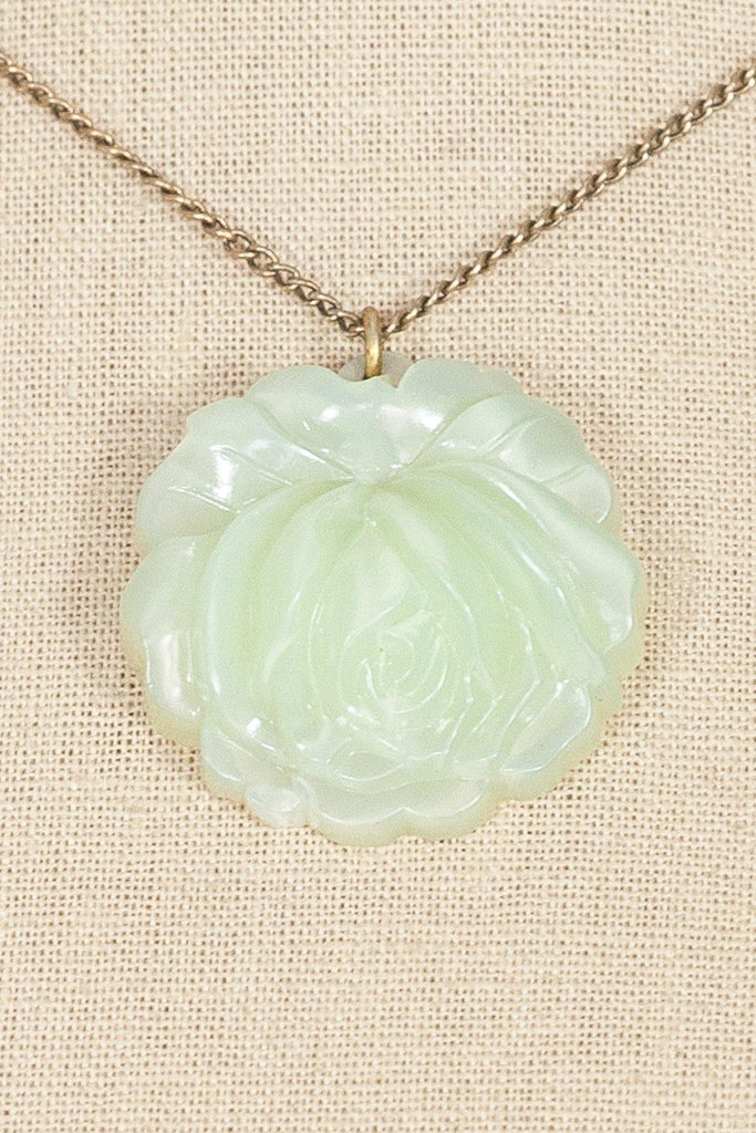 50's__Vintage__Lime Lucite Rose Necklace