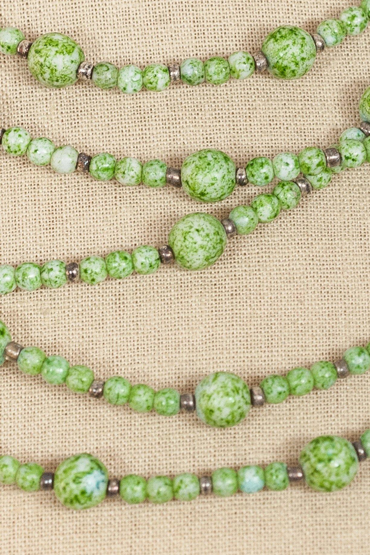 50's__Vintage__Multi Chain Green Ball Necklace
