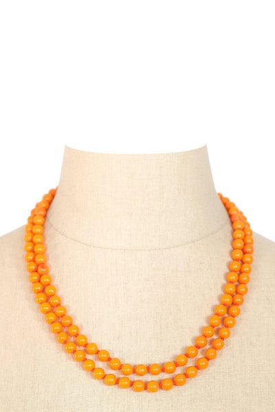 50's__Vintage__Orange Beaded Necklace