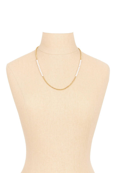 80's__Richelieu__Pearl and Chain Necklace