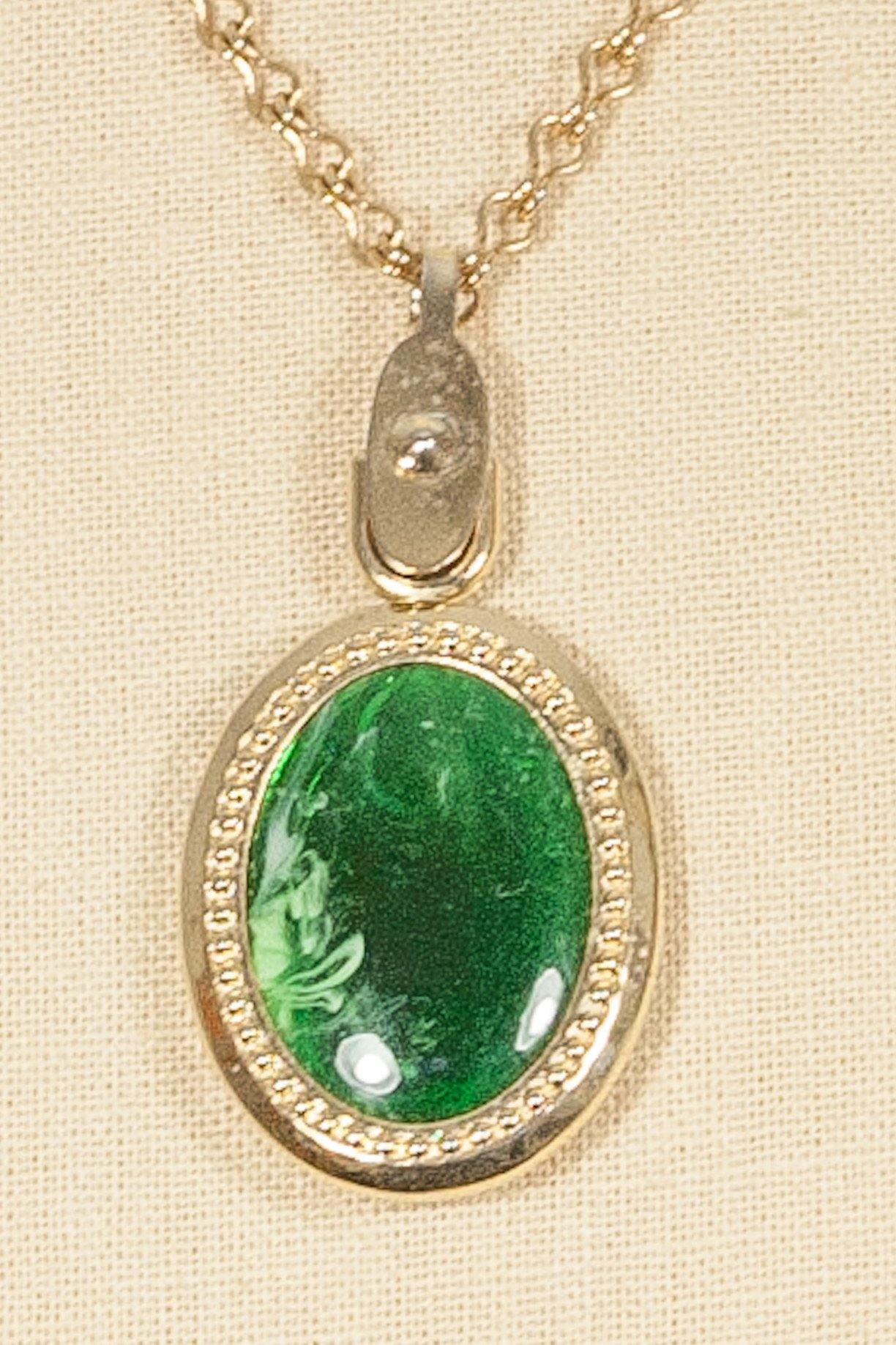 60's__Sarah Coventry__Green Pendant Necklace