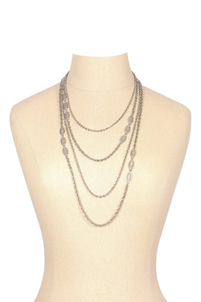 70's__Vintage__Silver Layering Charm Necklace