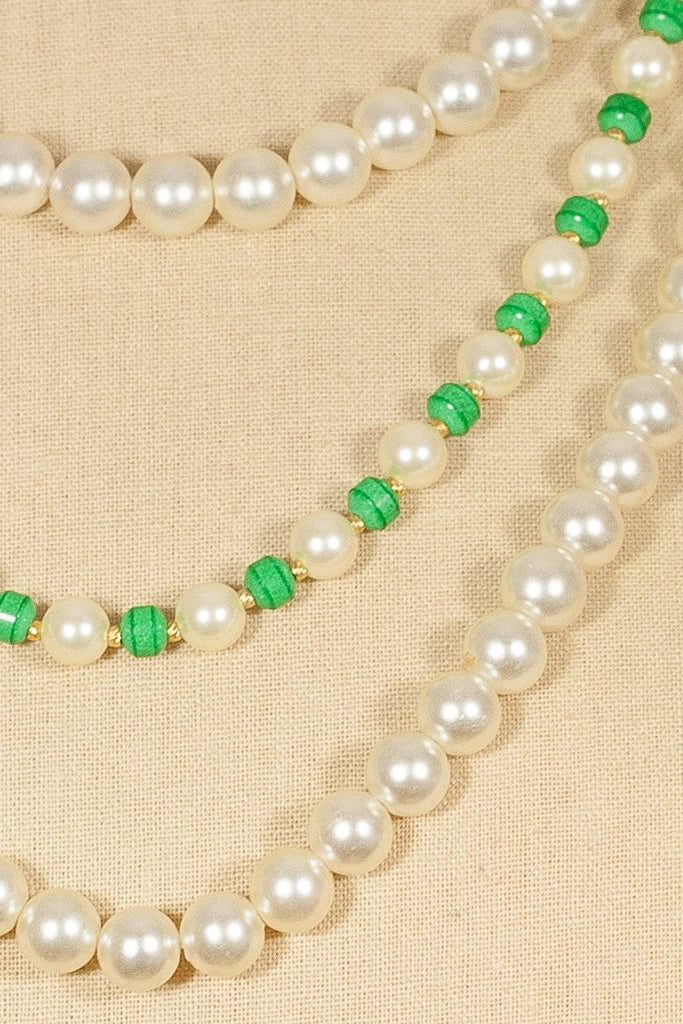 50's__Vintage__Green and Pearl Necklace
