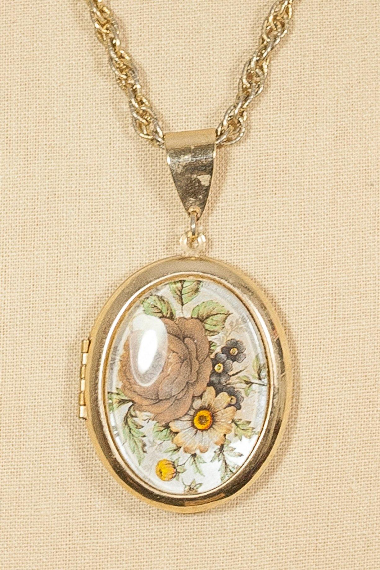 50's__Vintage__Rose Locket Necklace
